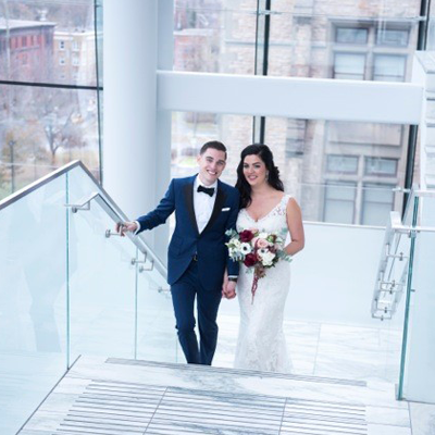 Lauryn Santini and David Warren on their wedding day
