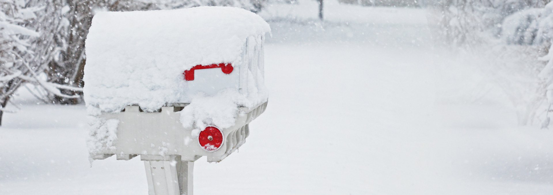 Winter snow and a mailbox