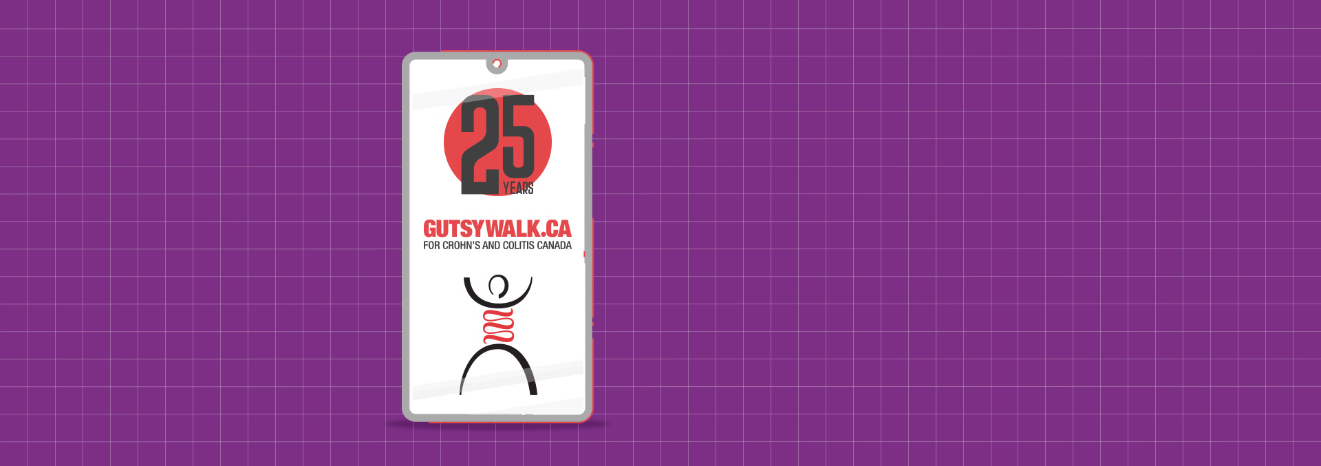 "A mobile phone showing, ""25 years - GutsyWalk.ca for Crohn's and colitis Canada"""