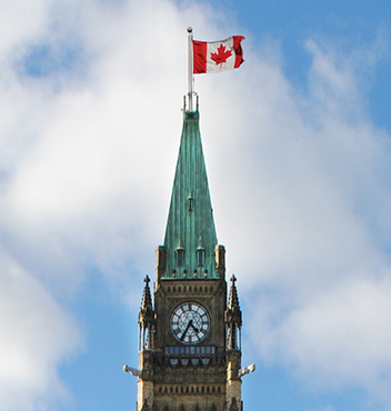 Canadian Flag on top of Canadian Parliament Building