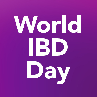 """World IBD Day"" text on a purple background"