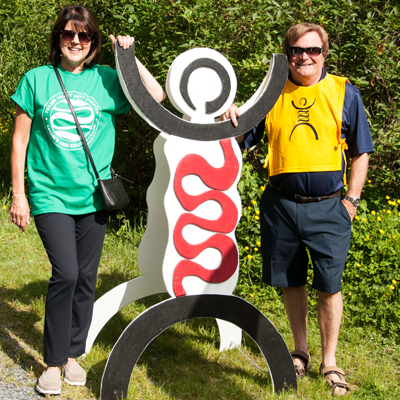 Gutsy Walk attendees with cutout