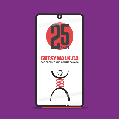 "A mobile phone showing, ""25 years - GutsyWalk.ca for Crohn"